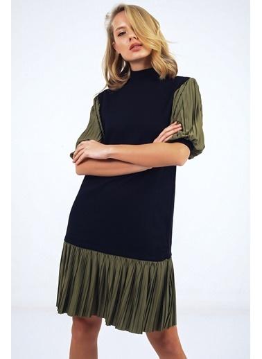 Emjey Kolları Balon Eteği Piliseli Hakim Yaka Özel Tasarım Elbise Haki